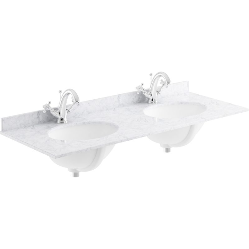 Bayswater White 1200mm Double Bowl 1 Tap Hole Marble Top