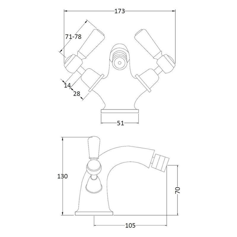 Bayswater White Mono Bidet Mixer with Lever & Dome Collar