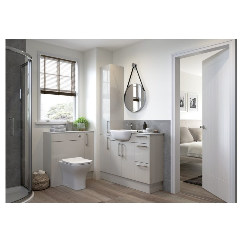 Bathrooms To Love Alba 600x2200mm Tall End Panel Light Grey Gloss