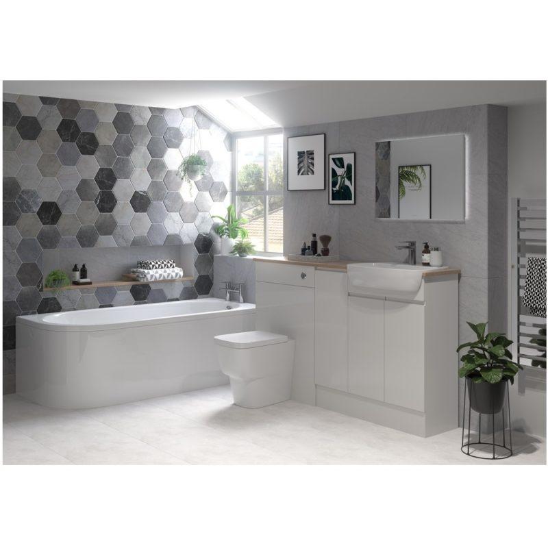 Bathrooms To Love Valesso 500mm Slim Vanity Unit Pearl Grey Gloss