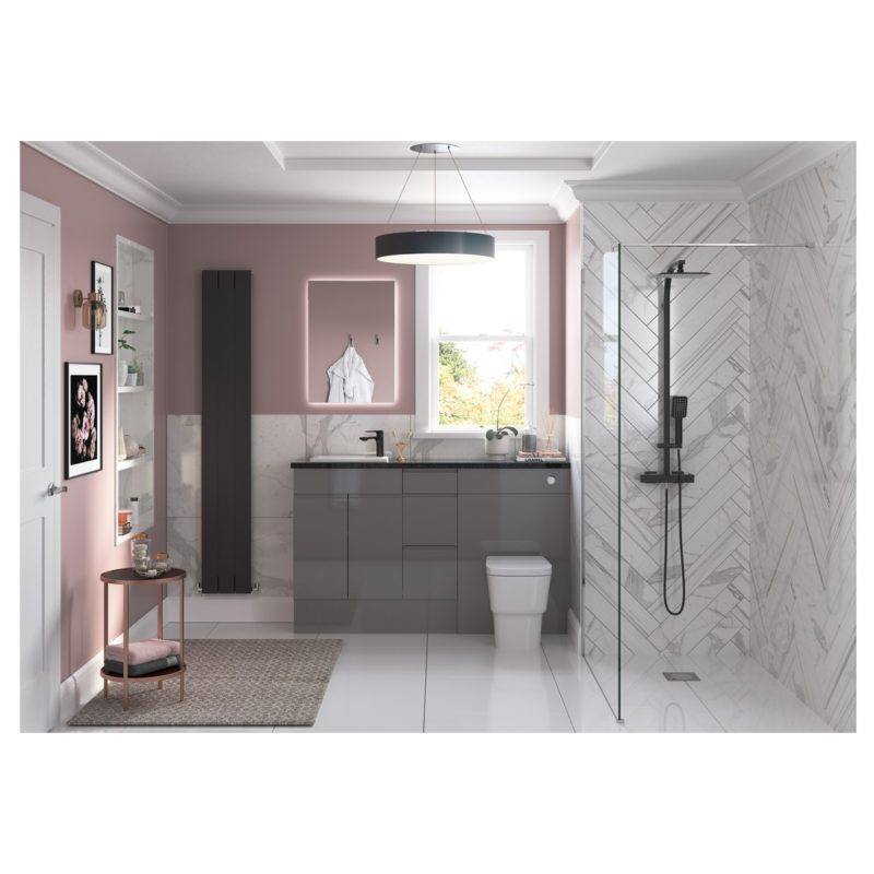 Bathrooms To Love Valesso 330x900mm Base End Panel Onyx Grey Gloss