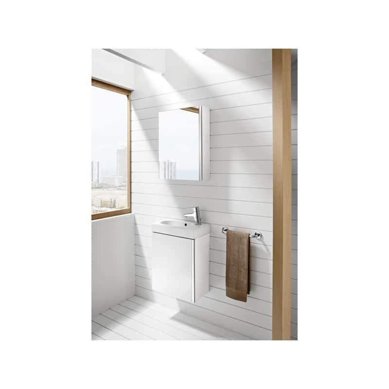 Roca Mini Pack Basin & Base Unit 450mm & Mirrored Cabinet White